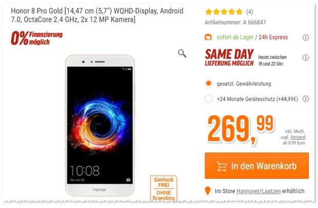 Honor 8 Pro in Gold im Angebot