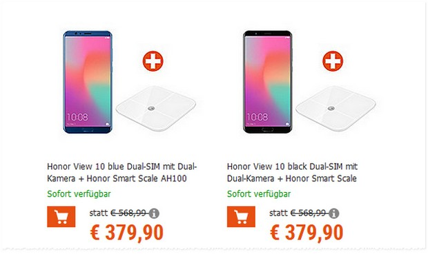 Honor View 10 + Honor Smart Scale für 379,90 €