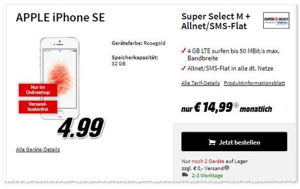iPhone SE mit Super Select Tarif