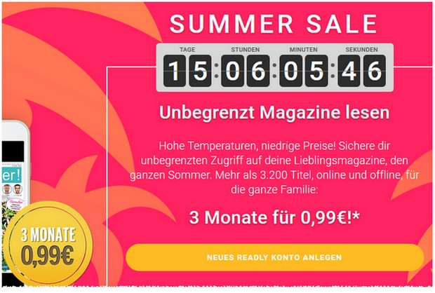 readly Angebot: 3 Monate für 99 Cent