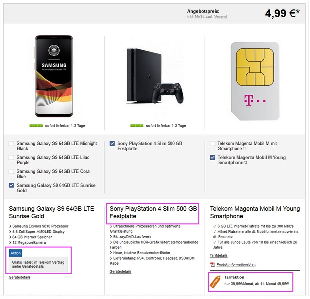 Samsung Galaxy S9 + Magenta Mobil M Young + Tablet + PS4 Slim für 4,99 €