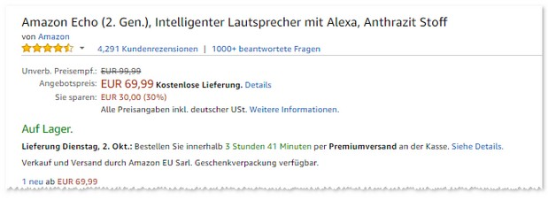 Amazon Echo (2. Generation) günstig im Angebot