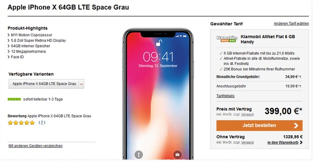 Apple iPhone X + Klarmobil Allnet-Flat 6000