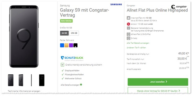 congstar Allnet Flat Plus mit 10 GB Highspeed + S9