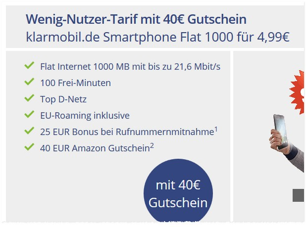Klarmobil Smart Flat 1000 mit 40 € Amazon-Gutschein