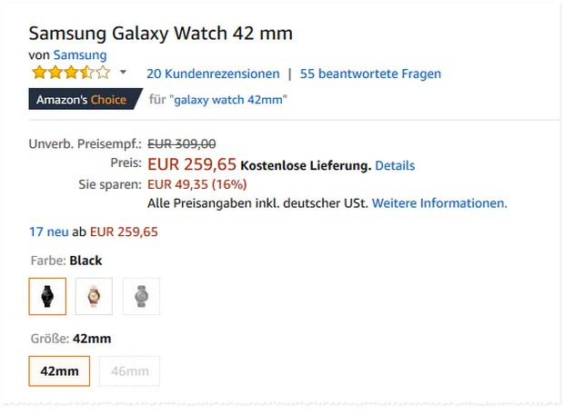 Samsung Galaxy Watch Preis