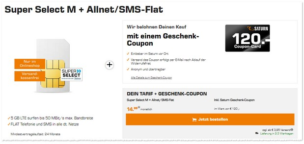 Super Select M Tarif in der Saturn Tarifwelt mit 120 € Coupon