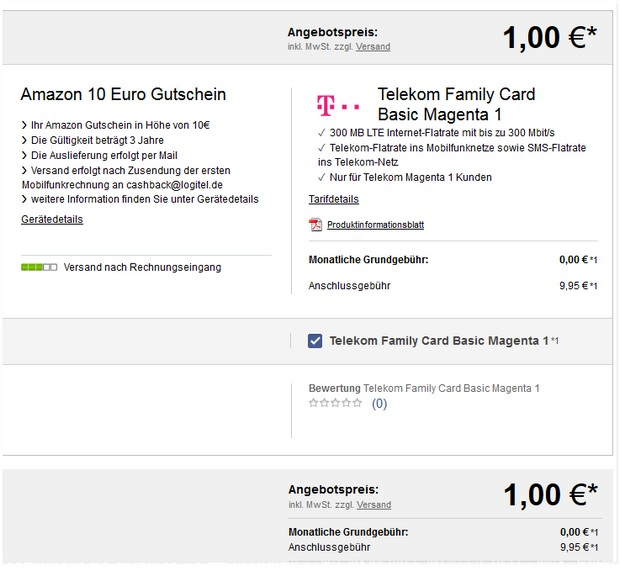 Telekom Family Card gratis mit 10 € Amazon-Gutschein