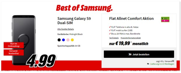 Telekom Flat Allnet Comfort + S9 als Best-of-Deal