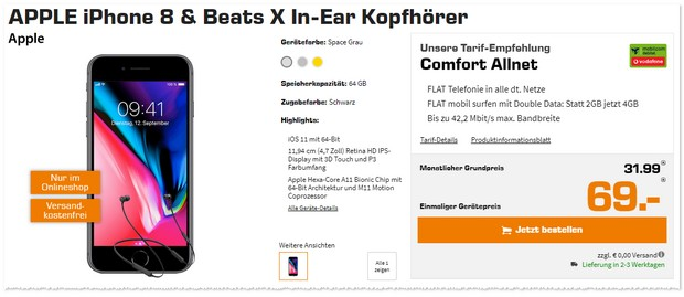 Vodafone Comfort Allnet (md, 4GB) + iPhone 8 + Beats X