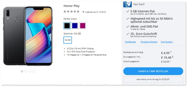 Honor Play mit otelo Fantarif