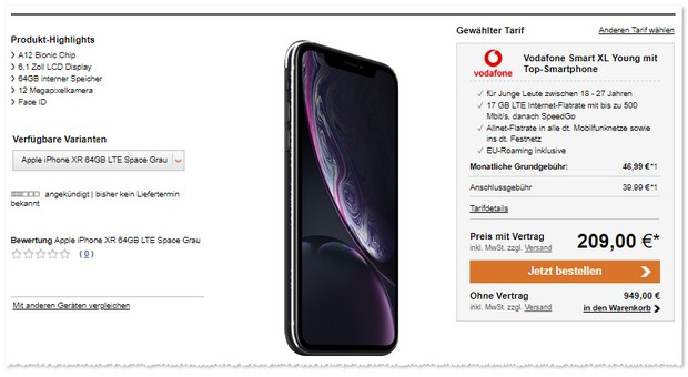 Apple iPhone Xr + Vodafone Smart XL Young