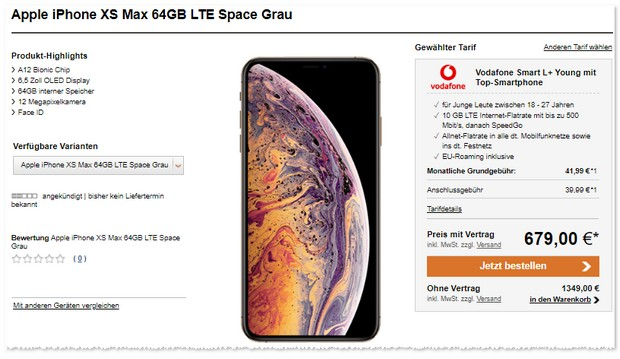 iPhone Xs Max und Vodafone Smart L Plus Young