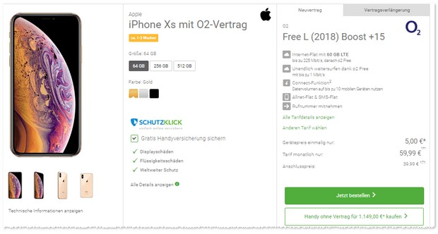 o2 Free L + iPhone Xs + 5 €Zuzahlung