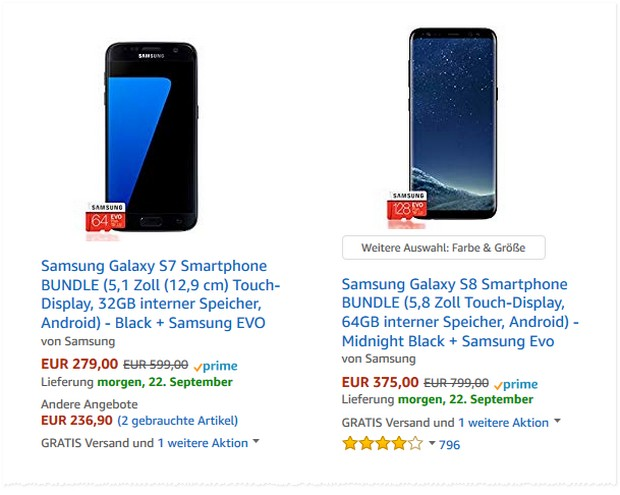 Samsung Galaxy Aktion bei Amazon: Starker MwSt. Konter für Galaxy S7 / S8