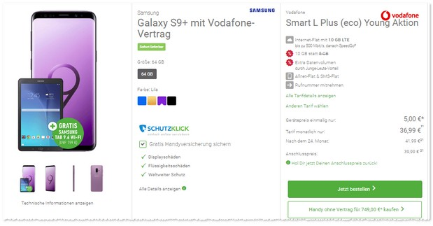 Smart L Plus Young von Vodafone mit S9 Plus von Samsung + Tablet-Zugabe