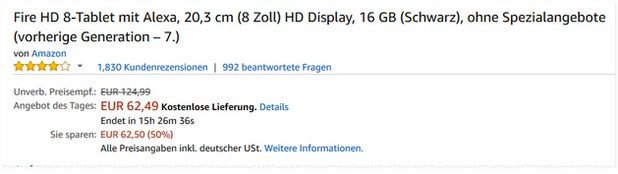 Amazon Fire HD 8 Angebot