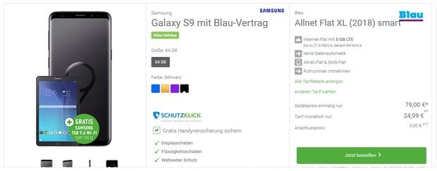 Galaxy S9 + Blau Tarif + Tablet