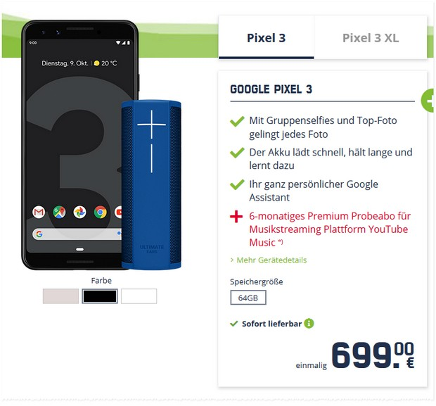 Google Pixel 3 in der md Black Week für 699 €