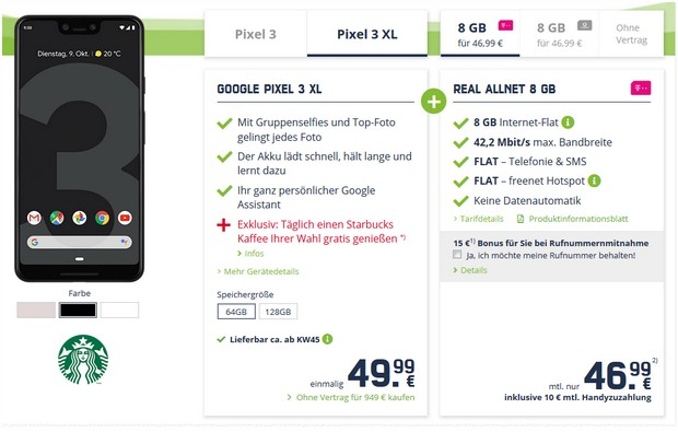 Google Pixel 3 XL + Telekom Real Allnet (md) + Starbucks-Aktion