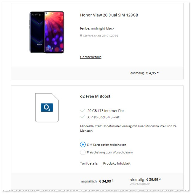 Honor View 20 + o2 Free M Boost