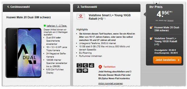 Huawei Mate 20 und Vodafone Smart L Plus Young