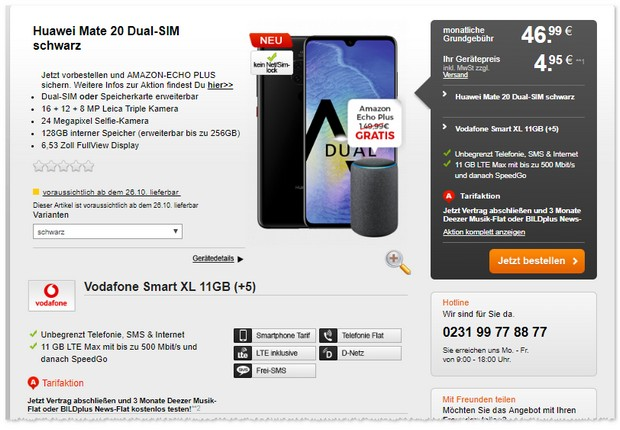 Huawei Mate 20 und Vodafone Smart XL im Bundle