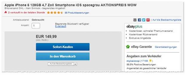 iPhone 6 (128 GB) als B-Ware