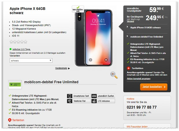 iPhone X mit o2 Free Unlimited (md)