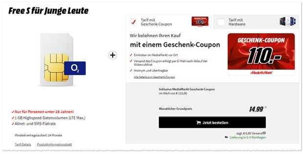 o2 Free S Young (SIM only) für junge Leute
