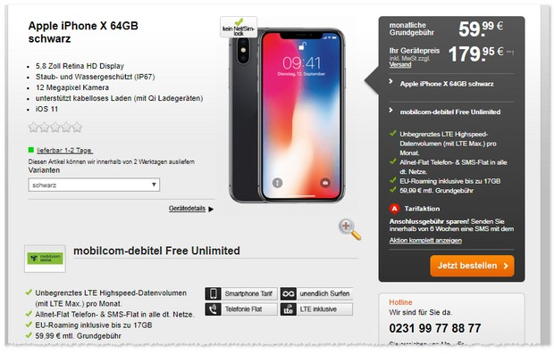 o2 Free Unlimited (md) + iPhone X via Handyflash jetzt billiger
