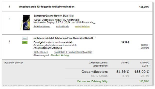 Samsung Galaxy Note 9 mit Telefónica / o2 Free Unlimited (md)
