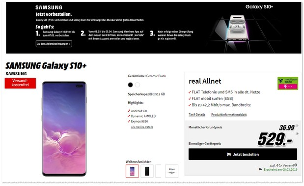 Samsung Galaxy S10 Plus + Telekom Real Allnet (md)