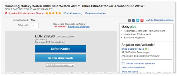 Samsung Galaxy Watch (46mm) im Angebot