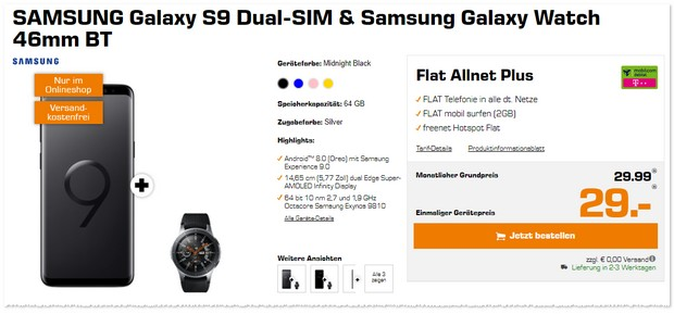 Telekom Flat Allnet Plus (md) + Samsung Galaxy S9 + Galaxy Watch