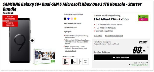 Telekom Flat Allnet Plus (md) mit Samsung Galaxy S9 Plus + Xbox One S