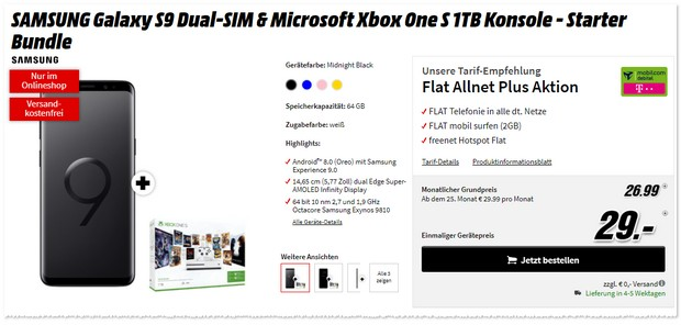 Telekom Flat Allnet Plus (md) + S9 + Xbox One S