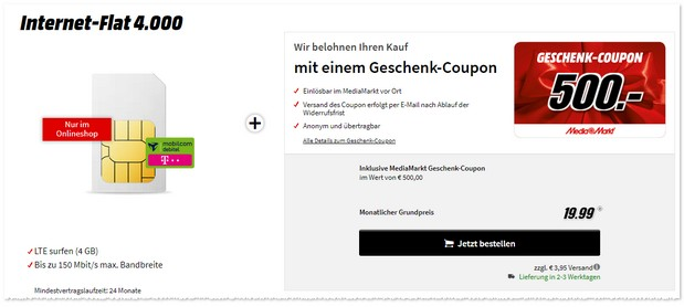 Telekom Internet Flat 4.000 (md) zum Red Sale