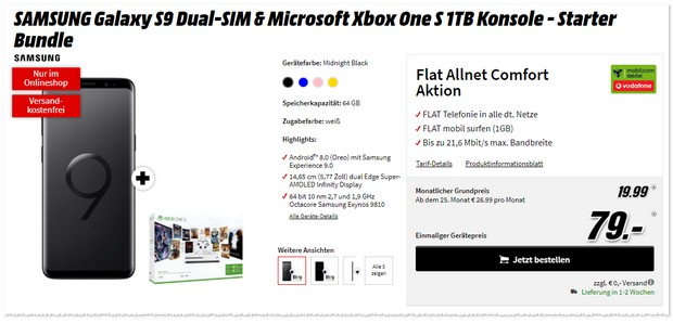 Vodafone Flat Allnet Comfort (md) +S9 + Xbox One S