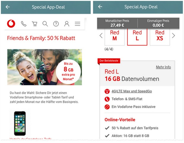 Vodafone Friends & Family Vorteilsangebote