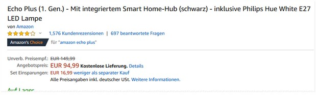 Amazon Echo Plus Deal für 94,99 €