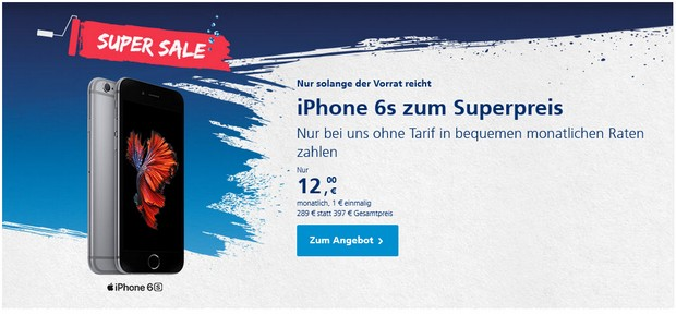 Apple iPhone 6S im o2 Super Sale Angebot für 289 €