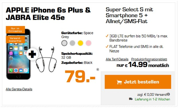 Apple iPhone 6S Plus + o2 Super Select Tarif bei Saturn für 79 € inklusive Headset von Jabra