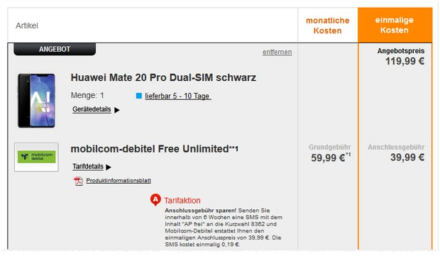 Huawei Mate 20 Pro + o2 Free Unlimited (md): Preissenkung um 50 €