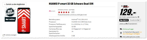 Huawei P Smart in der MediaMarkt Red Aktion