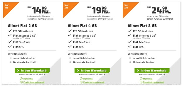 Klarmobil Allnet-Flat 2 GB mit gratis LTE Option