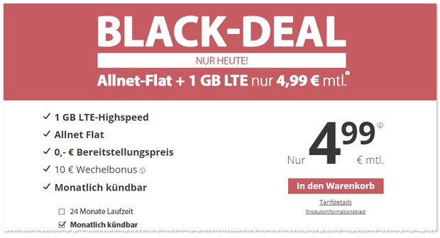 PremiumSIM LTE 1 GB als Black Deal