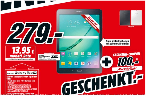Samsung Galaxy Tab S2 + 100 € MediaMarkt Coupon
