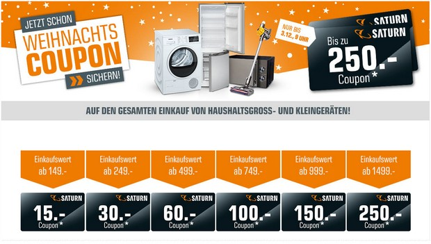 Saturn Weihnachts-Coupon-Aktion