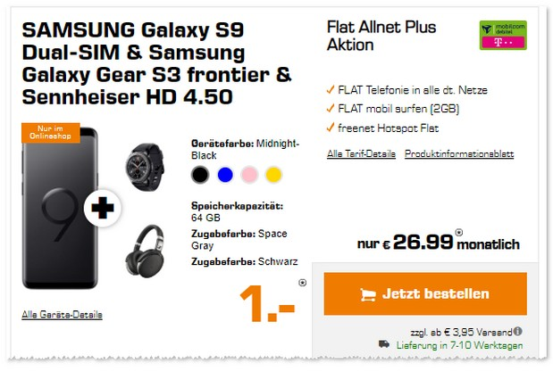 Telekom Flat Allnet Plus (md) + S9 als Top-Bundle im Black Weekend